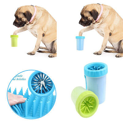 Portable Dog Paw Cleaner Pet Cleaning Brush Cup Dog Foot Feet Washing Cup Blue