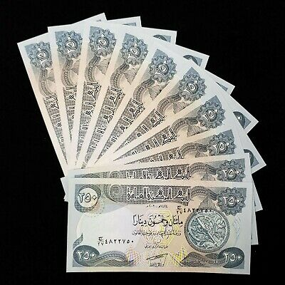 2,500 Iraqi Dinar (10) 250 Note Uncirculated!! Authentic! Iqd!