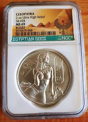 NGC Cleopatra - Egyptian Gods Series NGC MS69 2oz .999 Silver Ultra High Relief