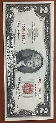 1963 $2 Federal Reserve Dollar Replacement Star * Note Red Seal - TCC