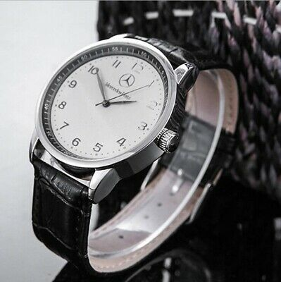 New Mercedes Benz Mens Watch Stainless Steel Black Strap White Face with Box