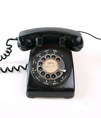 Vintage Black Western Electric Retro Rotary dial Telephone Phone tabletop Bell