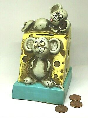 Vintage Bank Happy Mice Waiting for Your Coins=More Cheese! Cute Collectible.