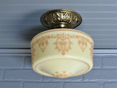 Vintage Antique Semi Flush Mount Ceiling Light Early 1900's Custard Glass Brass