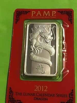 1oz. Silver Bar - PAMP Suisse - Lunar Year of the Dragon - .999 Fine in Assay
