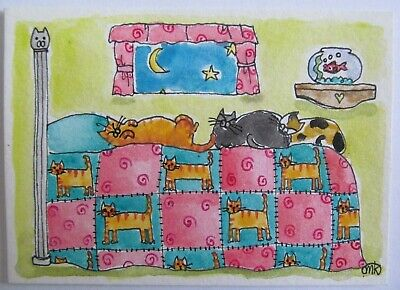 ACEO Original Pen Watercolor Painting Cats Kitty Bed Quilt Sleep Folk Art M King