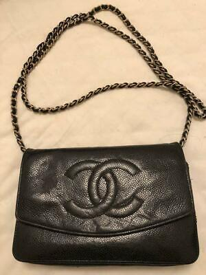 b13408f7dd9 CHANEL Chain Shoulder Tote Bag Pouch Black Caviar Skin Leather Vintage Used
