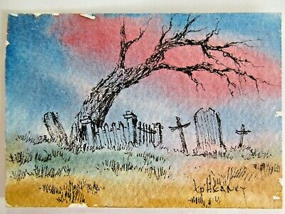 ACEO Original Watercolor Ink Painting Cemetery Western Landscape by Kevin Heaney