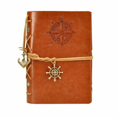 Retro Vintage Leather Bound Blank Page Notebook Note Notepad Journal Diary Book