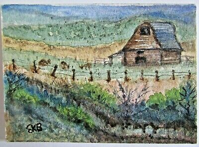 ACEO Original Watercolor Painting Colorado Ranch Barn Miniature Art by Eileen