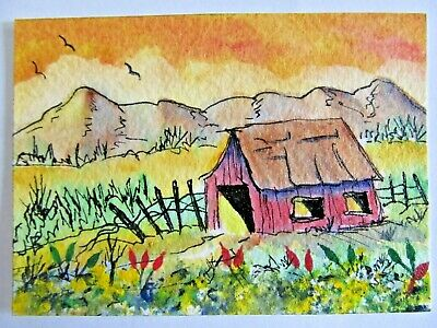 ACEO Original Watercolor Acrylic Ink Painting Little Barn Mountains Judith Bosch