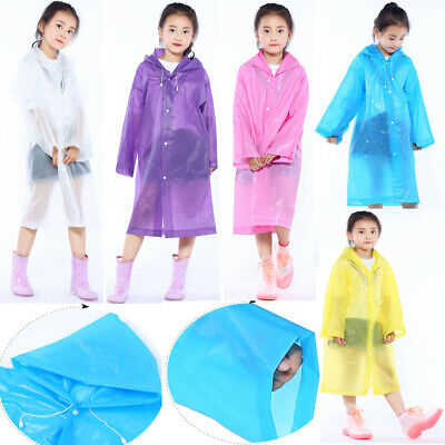 Unisex Kids Child Waterproof Raincoat Hooded Rainwear EVA Cover Cape Jacket Gift