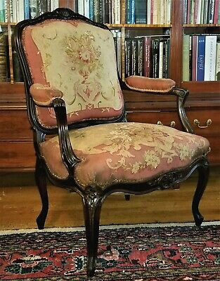 Louis XV fauteuil, open arm chair, walnut, French, 18thC, Aubusson tapestry, 39t