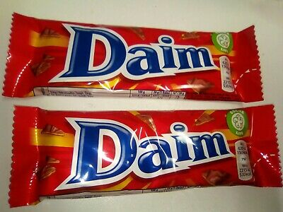 2 x UK Crunchy Almond Caramel Milk Chocolate coated DAIM BAR 28g each