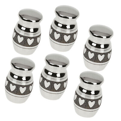 6pcs Mini Keepsake Urn Small Cremation Urn Ashes Funeral Urn Heart Painted