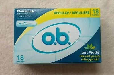 Brand New Box Of O.B. Regular Tampons Less Waste 18 Count vacation feminine