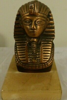 """Antique Bronze Egyptian Ramesses Statue on Marble Base 4"""" Tall With 4"""" Base"""