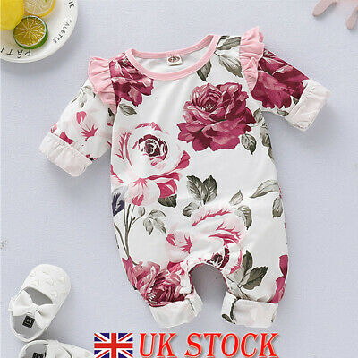 Newborn Baby Girl Floral Romper Bodysuit Jumpsuit Playsuit Winter Clothes Outfit