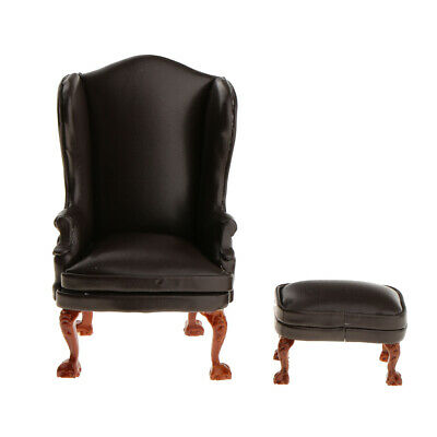 1:12 Scale Dollhouse Miniature Furniture Brown Leather Wing Chair & Ottoman