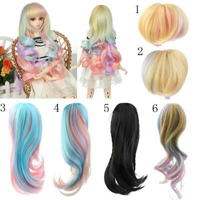 Fashion Doll Full Wig Straight/Curly Hair for 1/3 1/4 BJD SD DZ DOD LUTS Dolls