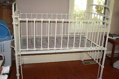 Antique Wrought Iron Baby's Cot for Display Only