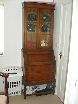 Antique Bureau/bookcase With Leaded And Coloured Glass Doors Made Of English Oak