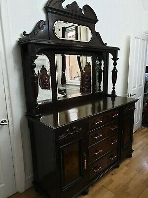 Large wooden mirrored dresser  / sideboard