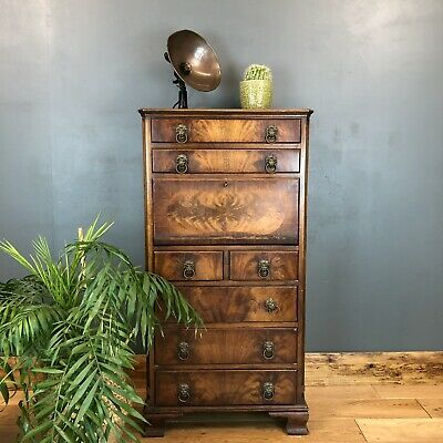 Antique Flame Mahogany Vintage Reprodux Tall Drawers Secretaire Desk