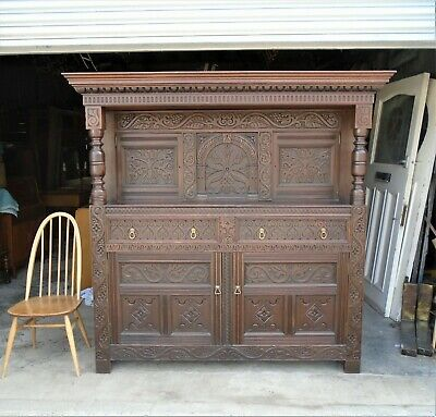 Large Antique French Carved Oak Sideboard / Court Cabinet   Delivery Available