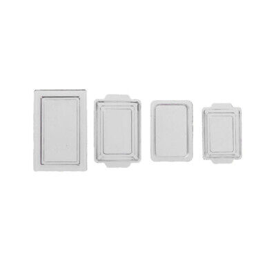4x 1:12 Scale Dollhouse Miniature Kitchen Accs Food Drink Serving Tray White