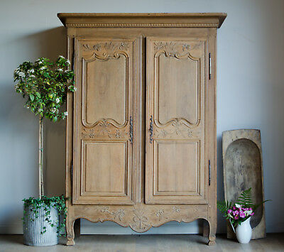 French Antique 18C Carved Oak Knockdown Armoire Wardrobe with Hanging Rail Shelf