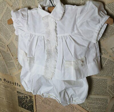 Vintage French baby suit, blouse, shirt, bloomers