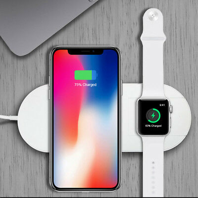 Qi Wireless Fast Charger Charging Stand Dock Pad 2in1 For Apple Watch 4 iPhone X