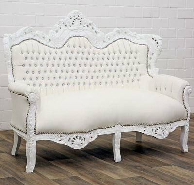 Canape Royal Style Baroque En Bois Hetre Massif Blanc Sofa Mariage Meridienne