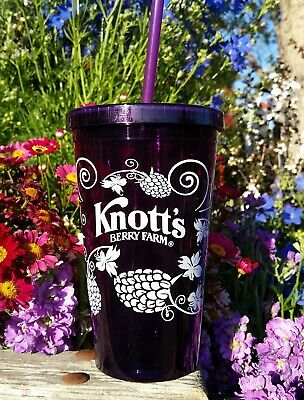 Knott's BOYSENBERRY FESTIVAL Drink Cup Tumbler Straw NEW Knotts Berry Farm Punch