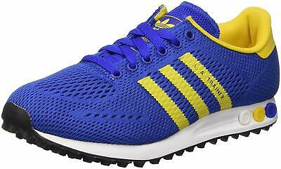 new arrivals d3df3 9874a ADIDAS LA TRAINERS SIZE 3.5 (EUR 36) Unisex Mens BLUE WITH YELLOW STRIPES