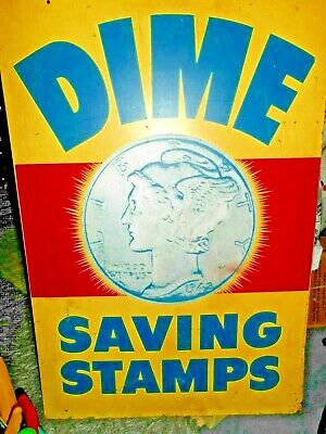 Vtg 1942 DIME SAVING STAMPS Mercury Dime Graphic Metal Double Sided Advertising