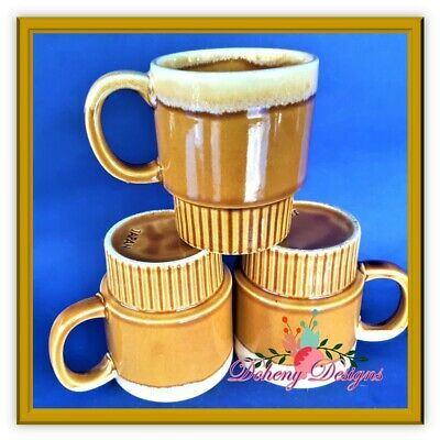 Retro drip glaze ceramic mugs x 3 made in Japan VINTAGE ceramic mug set of 3
