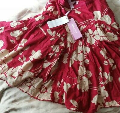Girls Skirt From Monsoon Age 4-6 red and fawn patterned and lace. BNWT