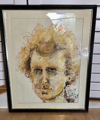Art drawing, vintage portrait,framed
