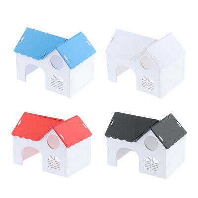 DIY Hamster Chinchilla Guinea Pig Wooden Hut Houses Small Animal Hideout Toy