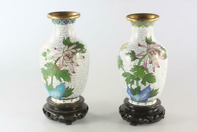 VINTAGE CHINESE PAIR CLOISONNE ENAMELED WHITE VASE with wooden stands