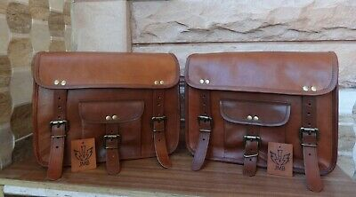 "12"" Saddlebags Motorcycle  Side Pouch  Brown Real Leather  Pouch Panniers 1pair"