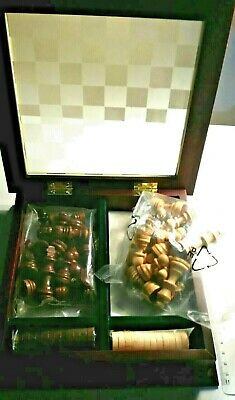 Chess & Checkers Set Monogany Finished Chest with Glass Lid Wood Sealed Pieces!