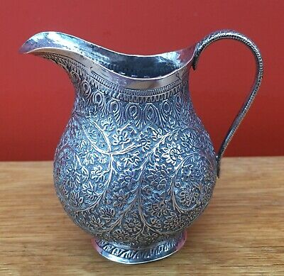 Good Quality Antique Indian Kutch? Solid Silver Jug Apparently Unmarked