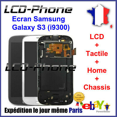 Ecran Samsung Galaxy S3 (i9300) LCD+Vitre Tactile+Home+Chassis Blanc/Noir