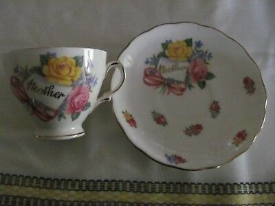 Antique collectable Royal Vale Roses China 'Mother' cup/saucer for Mothers Day