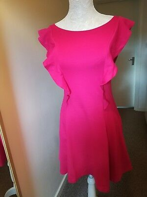 Ladies Sleeveless Pink Dress Front Frill Size 12 V By Very