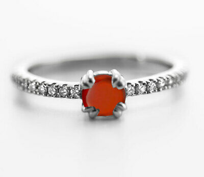 925 Sterling Silver Ring Orange Hessonite Garnet Natural Size 4-11