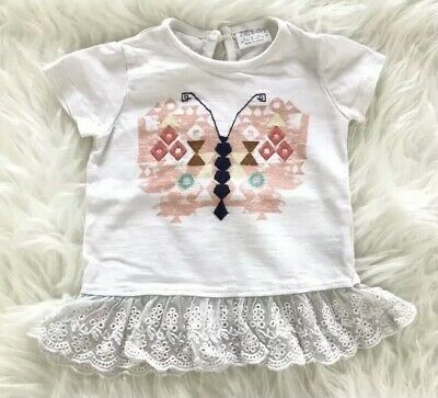 Baby Girls Butterfly T-Shirt White Lace Frill Detail Summer Size 0-3 Months F&F